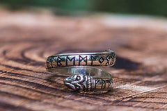 Ouroboros Ring with Elder Futhark Runes Sterling Silver Handmade Viking Jewelry