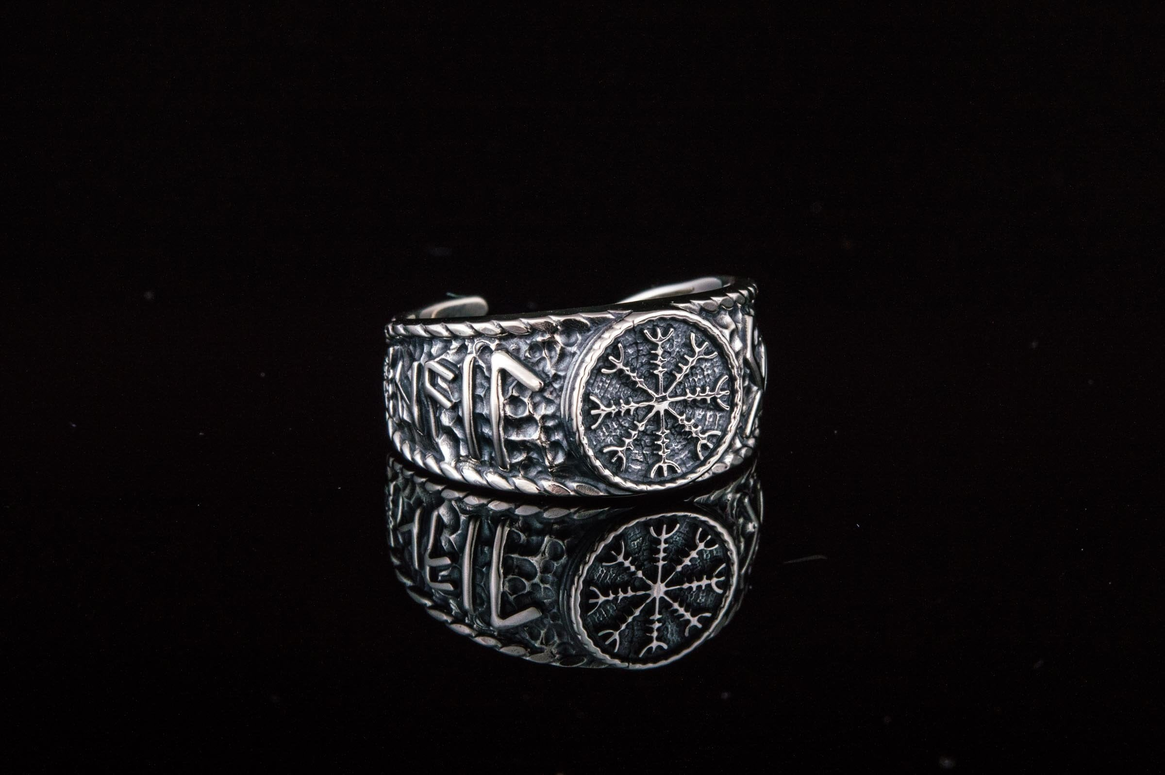 Helm of Awe Symbol with Hail Odin Sterling Silver Viking Ring
