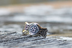 Valknut Symbol With HAIL ODIN Runes Sterling Silver Viking Ring