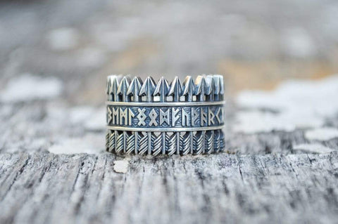 Ancient Smithy VW jewelry Arrows Ring with Elder Futhark Runes Sterling Silver Viking Jewelry