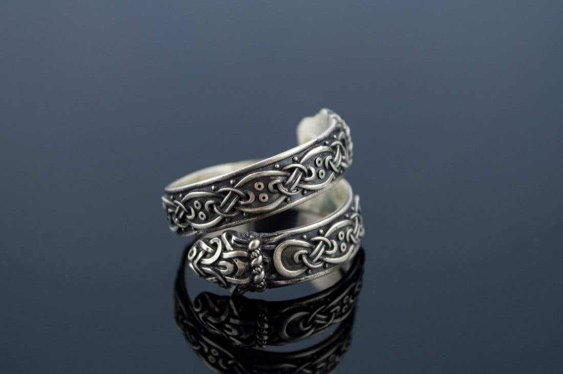 Ancient Smithy VW jewelry Ouroboros Ring with Viking Ornament Sterling Silver Norse Jewelry