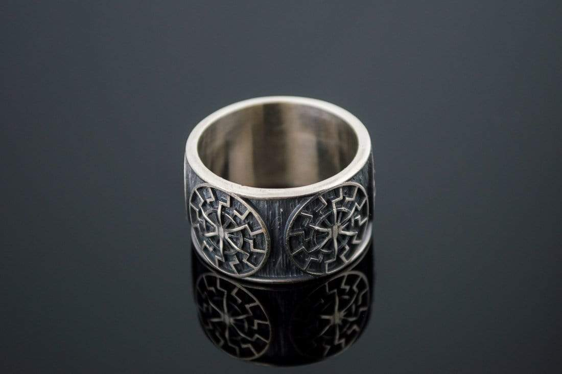 Ancient Smithy VW jewelry Black Sun Symbol Ring Sterling Silver Norse Jewelry