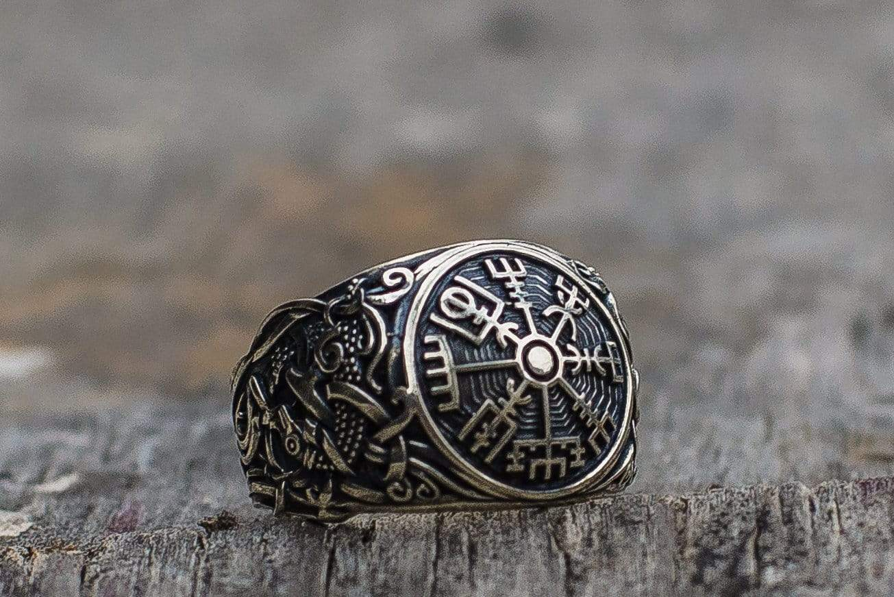 Ancient Smithy VW jewelry Vegvisir Symbol with Mammen Style Sterling Silver Norse Ring