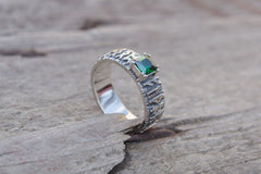 Ring with Norse Runes and Green Cubic Zirconia Sterling Silver Handmade Jewelry