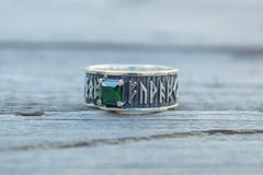 Ring with Runes Ornament and Green Cubic Zirconia Sterling Silver Handmade Jewelry