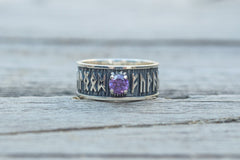 Ring with Runes Ornament and Cubic Zirconia Sterling Silver Handmade Jewelry