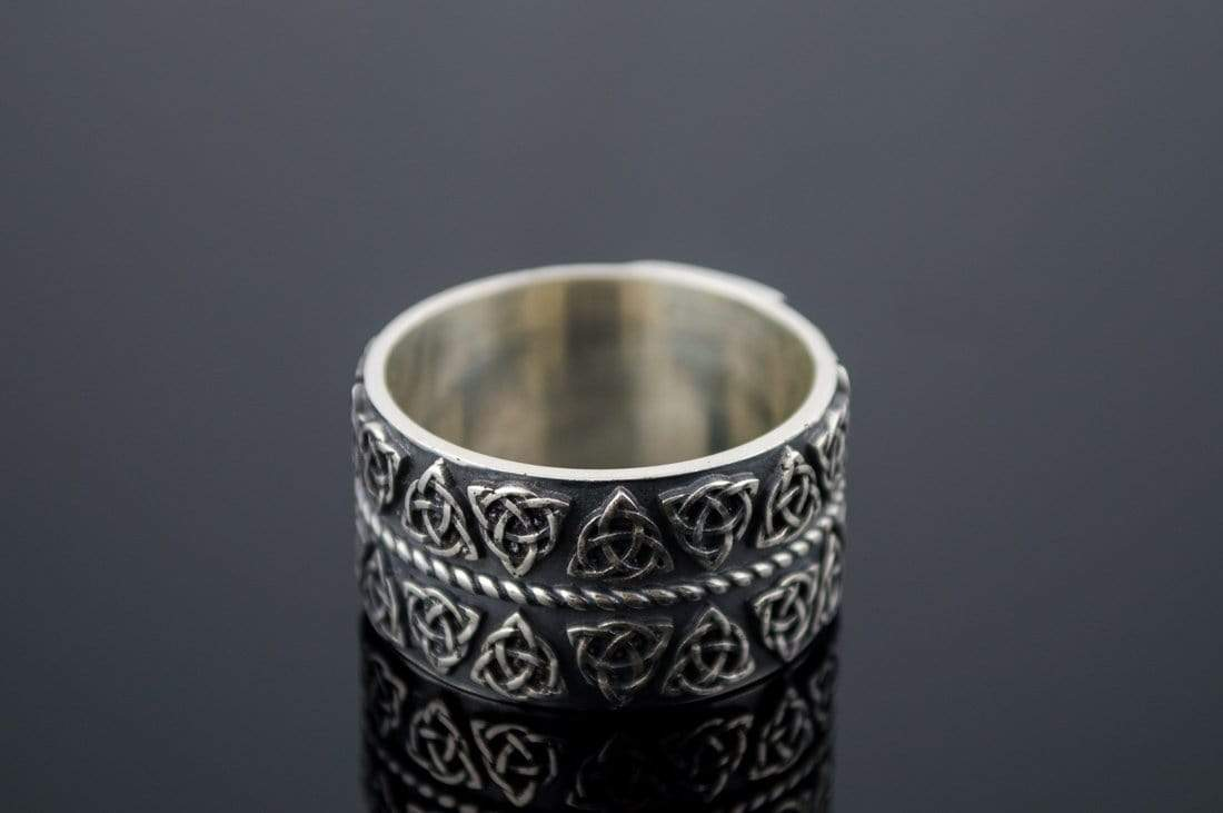 Ancient Smithy VW jewelry Celtic Ring with Triquetra Symbols Sterling Silver Pagan Jewelry
