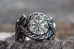 Vegvisir Symbol with Norse Ornament Ring Norse Jewelry
