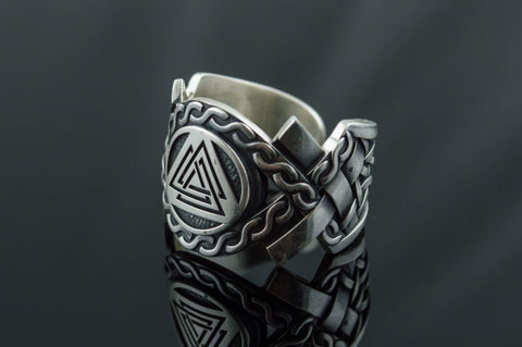 Valknut Symbol with Norse Ornament Ring Viking Jewelry