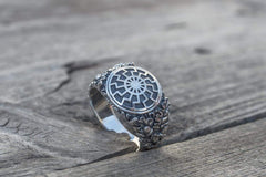 Ancient Smithy VW jewelry Black Sun Symbol with Oak Leaves and Acorns Sterling Silver Norse Ring
