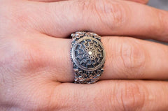 Black Sun Symbol with Oak Leaves and Acorns Sterling Silver Norse Ring