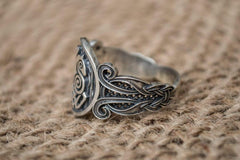 Sleipnir Symbol with Viking Ornament Sterling Silver Norse Jewelry
