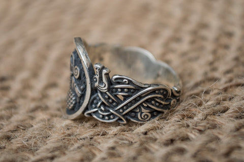 Animal Symbol with Norse Ornament Sterling Silver Unique Jewelry