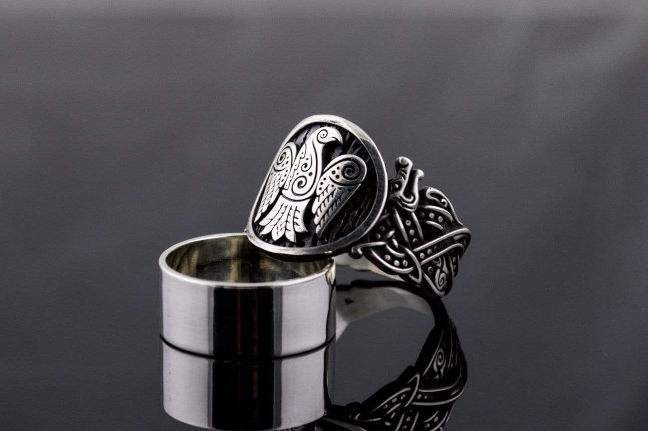 Ancient Smithy VW jewelry Raven Symbol with Wolf Ornament Sterling Silver Unique Ring
