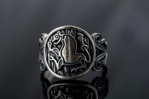 Animal Symbol with Viking Ornament Sterling Silver Norse Jewelry