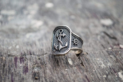 Anchor Symbol Sterling Silver Norse Ring
