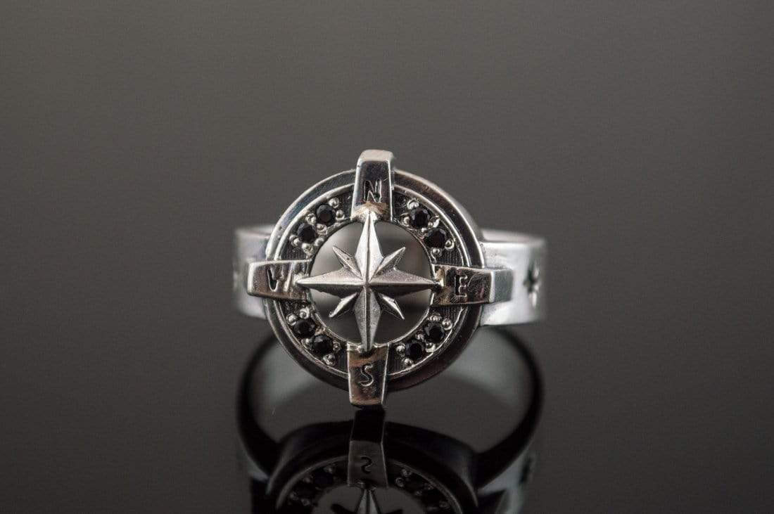Ancient Smithy VW jewelry Compass Symbol Ring with Black Gem Sterling Silver Unique Jewelry