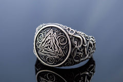Ancient Smithy VW jewelry Valknut Symbol Ring with Urnes Style Sterling Silver Viking Jewelry