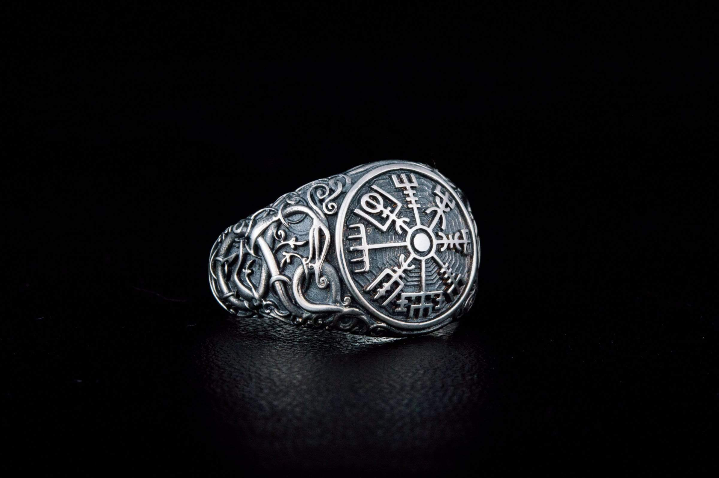Vegvisir Symbol Ring with Urnes Style Sterling Silver Norse Jewelry