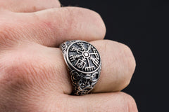 Ancient Smithy VW jewelry Vegvisir Symbol Ring with Urnes Style Sterling Silver Norse Jewelry