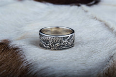Ring with Dragon Symbol Sterling Silver Handmade Jewelry