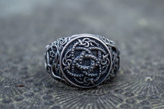 Ancient Smithy VW jewelry Jormungandr Symbol with Urnes Style Sterling Silver Norse Ring