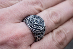 Jormungandr Symbol with Urnes Style Sterling Silver Norse Ring