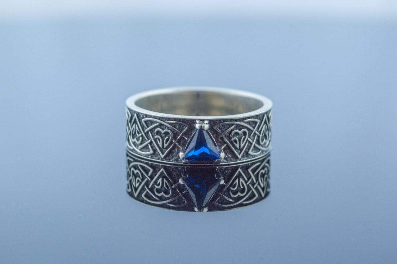 Ancient Smithy VW jewelry Ring with Norse Ornament and Cubic Zirconia Sterling Silver Viking Jewelry