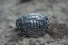 Drakkar Symbol Ring with Urnes Style Sterling Silver Viking Jewelry