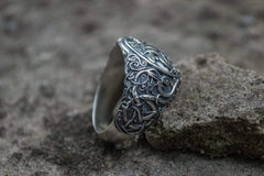 Ancient Smithy VW jewelry Drakkar Symbol Ring with Urnes Style Sterling Silver Viking Jewelry