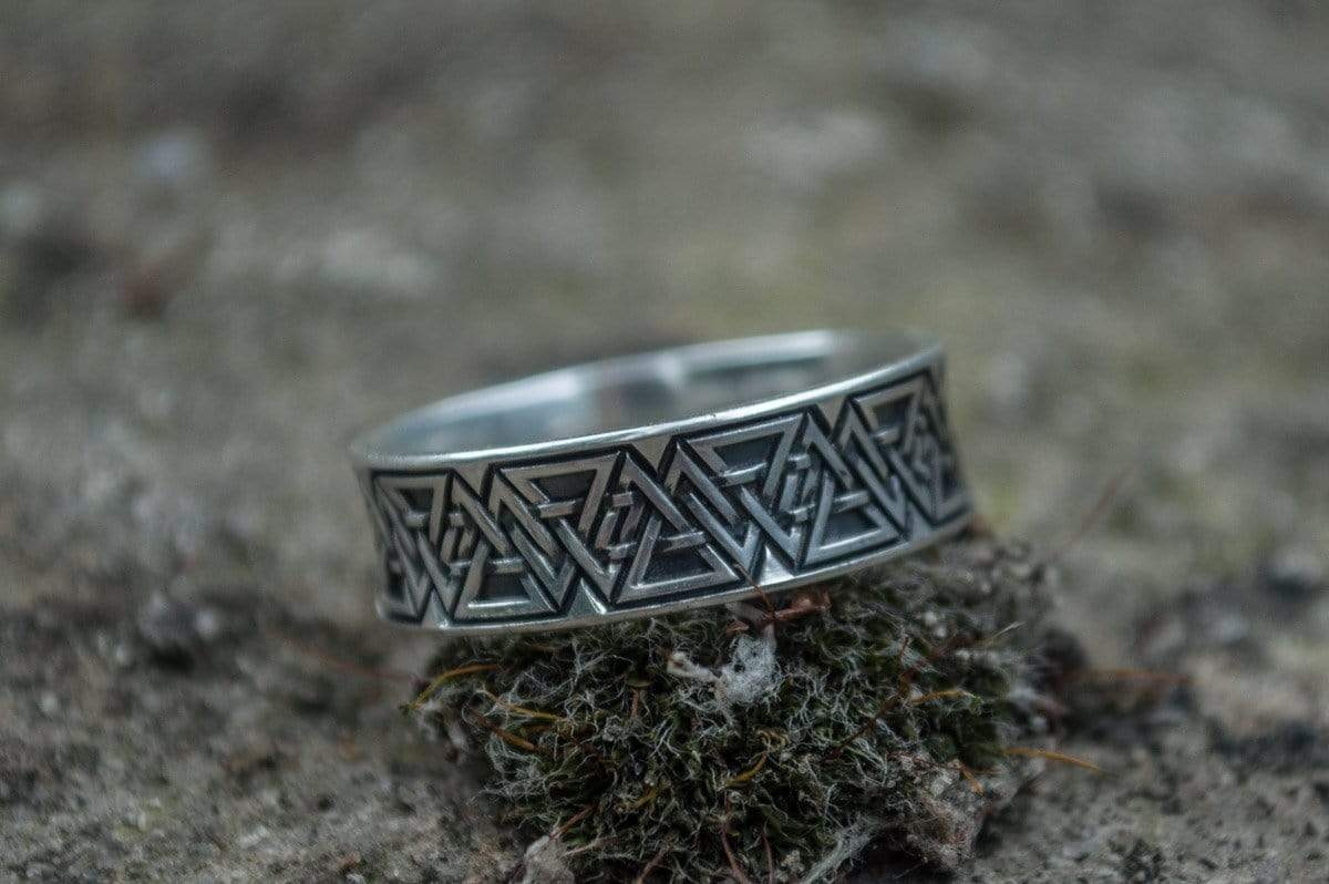 Ancient Smithy VW jewelry Ring with Valknut Symbol Sterling Silver Viking Jewelry
