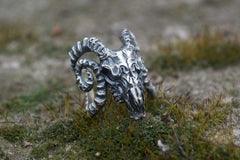Ram Skull Ring Sterling Silver Unique Handmade Jewelry
