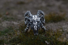 Ancient Smithy VW jewelry Ram Skull Ring Sterling Silver Unique Handmade Jewelry
