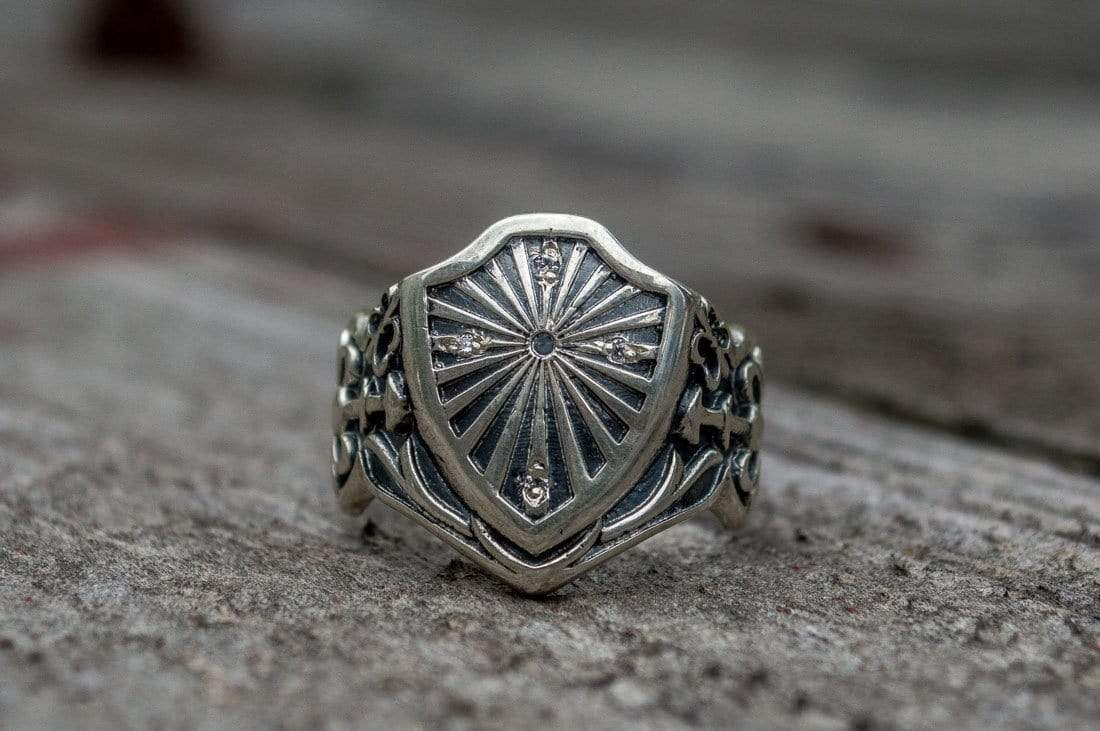 Ancient Smithy VW jewelry Shield Ring with Cubic Zirconia Sterling Silver Handmade Jewelry