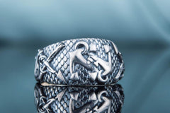 Ancient Smithy VW jewelry Fish Ring with Anchor Symbol Sterling Silver Handmade Unique Jewelry