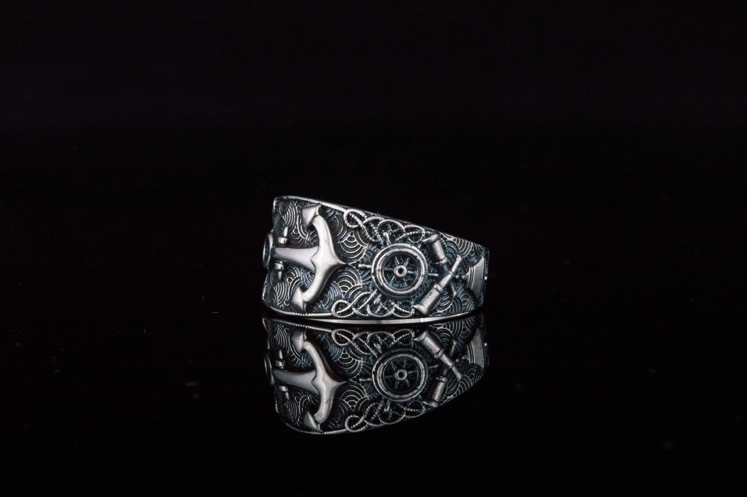 Ancient Smithy VW jewelry Unique Ring with Anchor Symbol Sterling Silver Handcrafted Jewelry