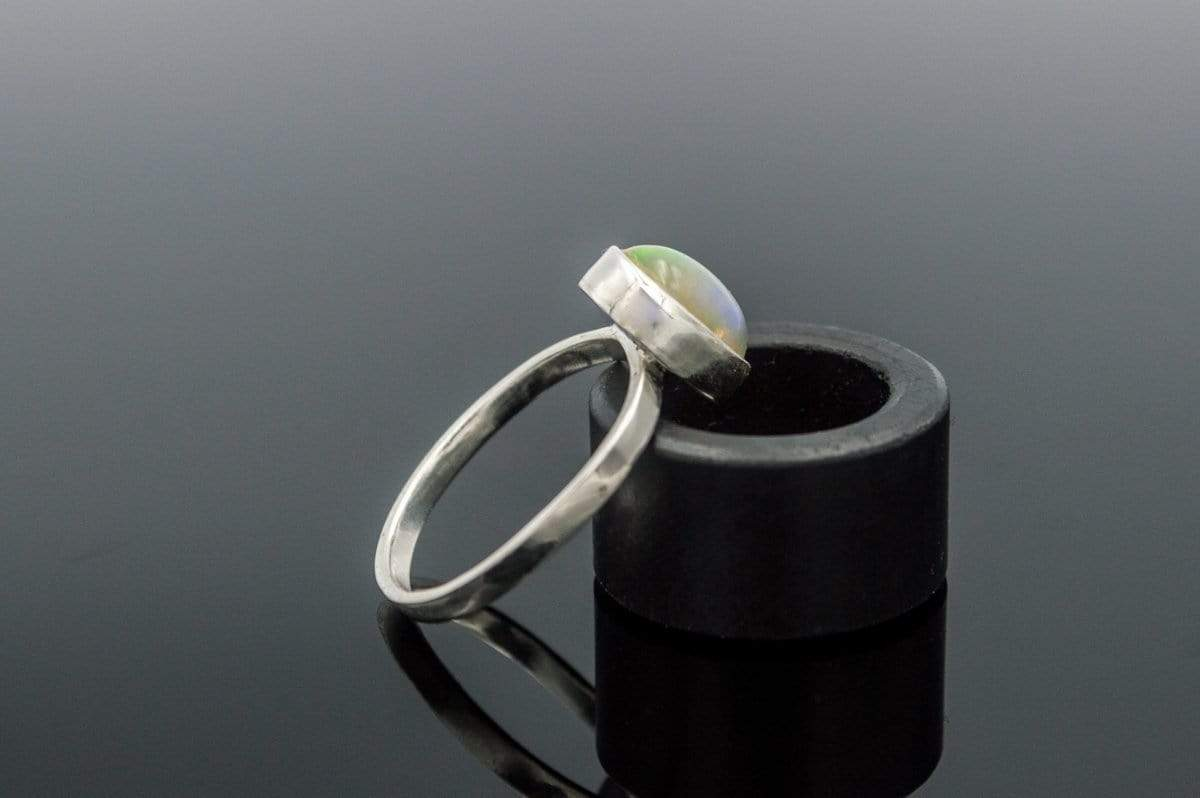 Custom Ring with White Opal Sterling Silver Unique Jewelry