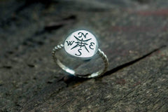 Ancient Smithy VW jewelry Ring with Compass Symbol Sterling Silver Unique Handcrafted Jewelry