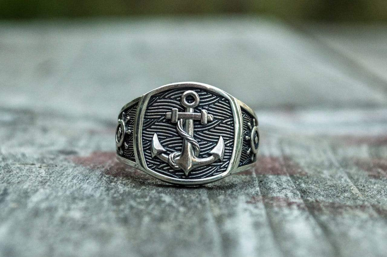 Ancient Smithy VW jewelry Anchor Symbol Ring Sterling Silver Handcrafted Jewelry