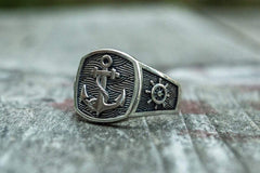 Anchor Symbol Ring Sterling Silver Handcrafted Jewelry