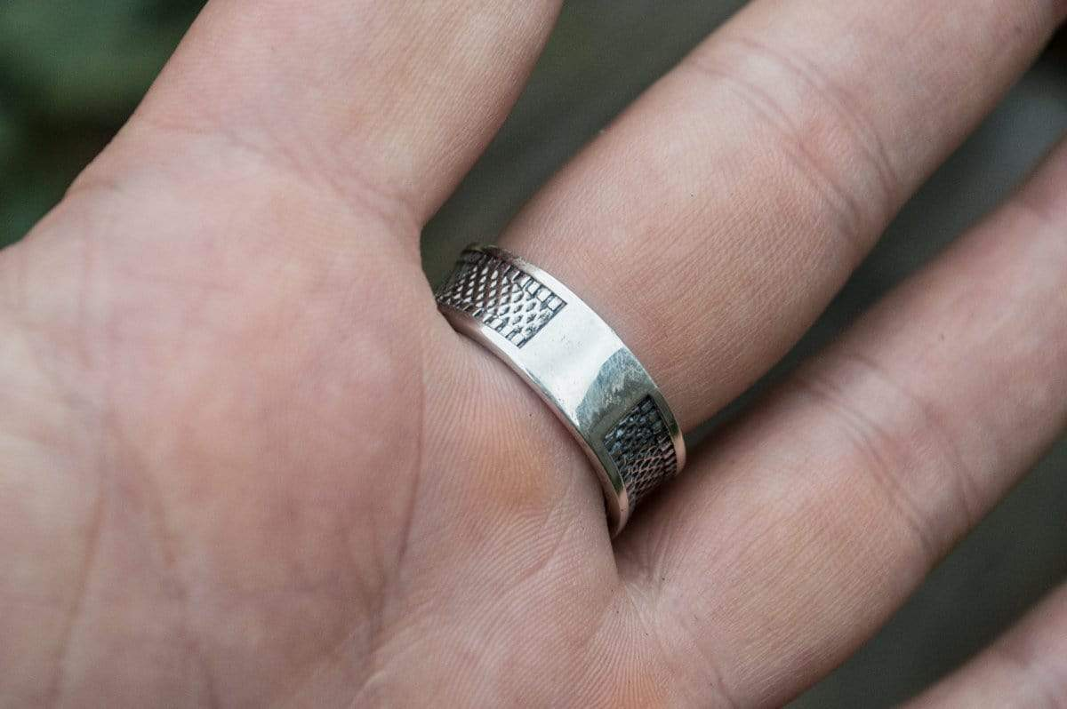 Ancient Smithy VW jewelry Ring with Seahorse Symbol and Anchor Sterling Silver Jewelry