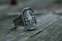 Ring with Seahorse Symbol and Anchor Sterling Silver Jewelry