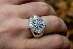 Compass Symbol Ring with Blue Cubic Zirconia Sterling Silver Unique Jewelry