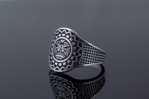 Ancient Smithy VW jewelry Aztec Ornament Ring Sterling Silver Handmade Jewelry