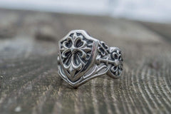 Shield with Heraldic Cross Ring Sterling Silver Handcrafted Jewelry