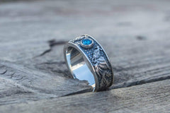 Ancient Smithy VW jewelry Ring with Firebird and Blue Cubic Zirconia Sterling Silver Jewelry