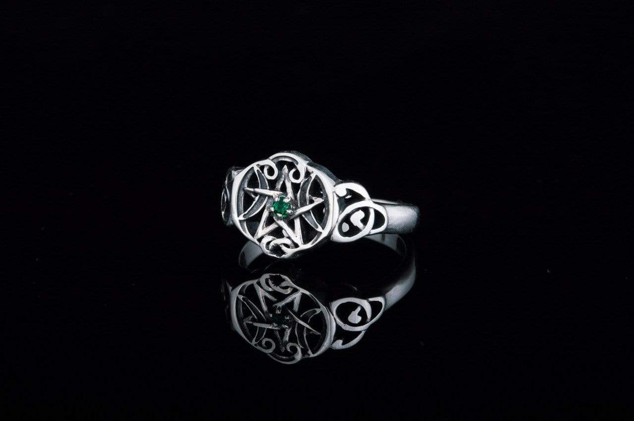 Wicca Symbol Ring with Green Cubic Zirconia Sterling Silver Jewelry