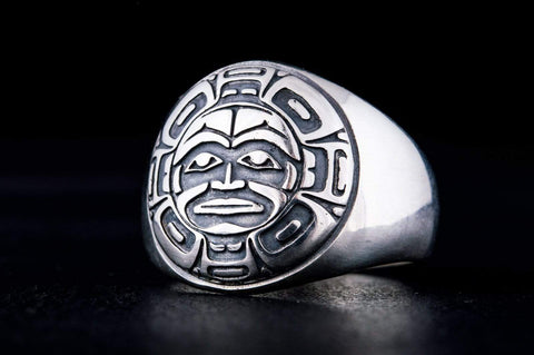 Aztec Ornament Ring Sterling Silver Jewelry