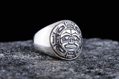 Ancient Smithy VW jewelry Aztec Ornament Ring Sterling Silver Jewelry