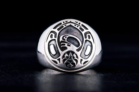 Ancient Smithy VW jewelry Aztec Ornament Ring Sterling Silver Jewelry V02